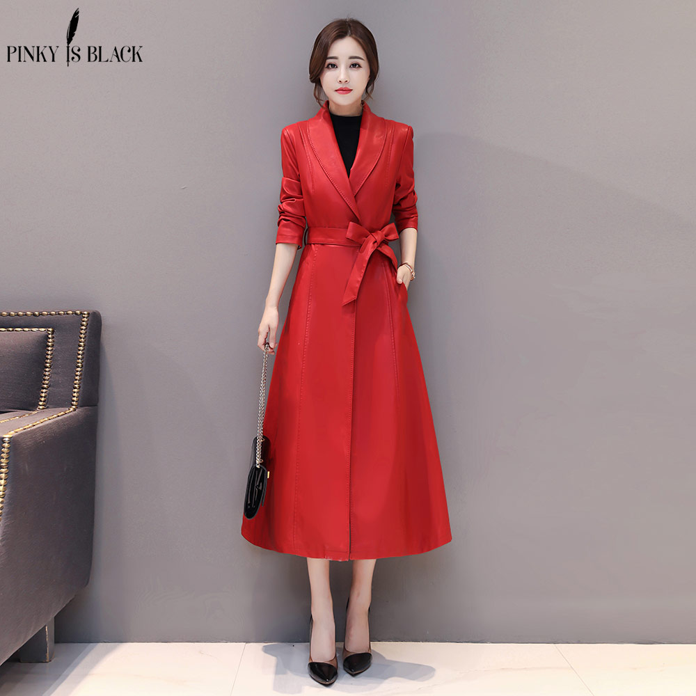 PinkyIsBlack X-Long Leather Jacket Women Fashion Female Plus Size 4XL Turn Down Collar Single Button Belt Leather Coat Outerwear enlarge