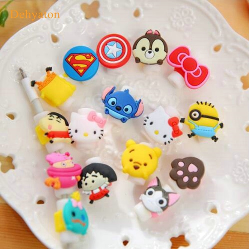 Dehyaton 1pcs Cartoon Cable Protector Data Line Cord Protective Case Cable Winder Cover For iPhone USB Charging Cable organizer cartoon cable protector data line cord protector protective case cable winder cover for iphone charging cable protecto