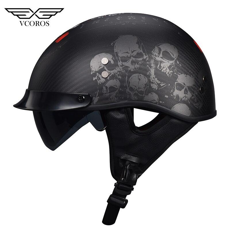 VCOROS-خوذة دراجة نارية من ألياف الكربون ، خفيفة الوزن ، مفتوحة الوجه ، للرجال والنساء ، مع نظارة شمسية داخلية DOT ، A200