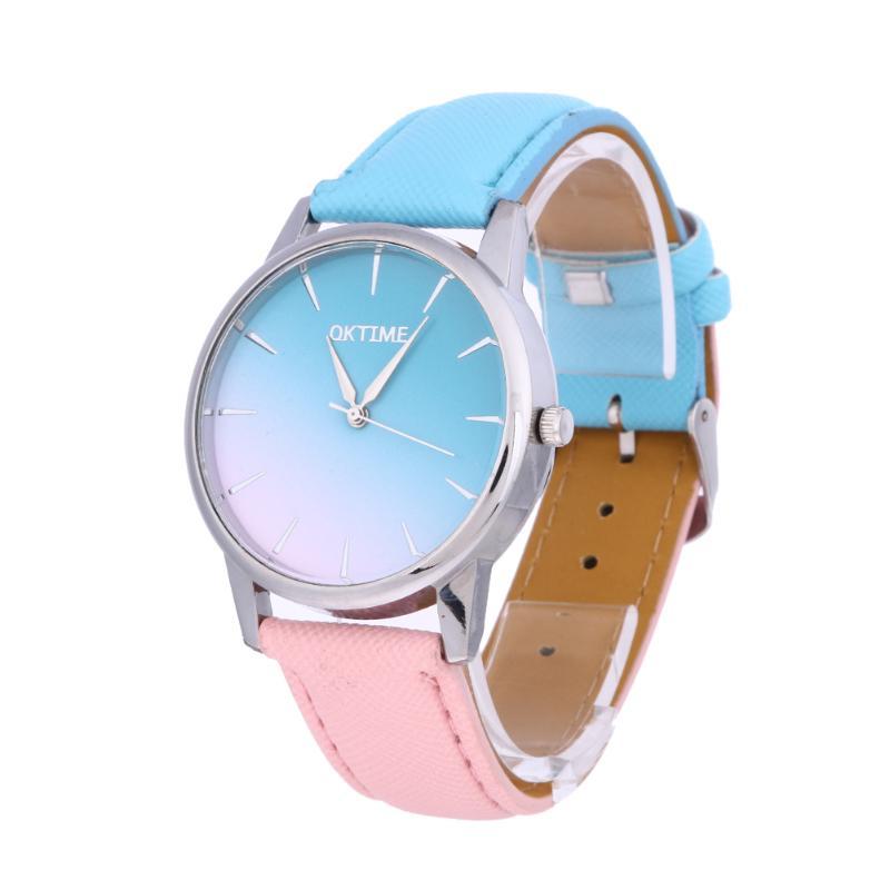 Женские кварцевые наручные часы Dail, повседневные часы с ремешком ярких цветов, кварцевые часы для студентов, кожаные часы reloj mujer