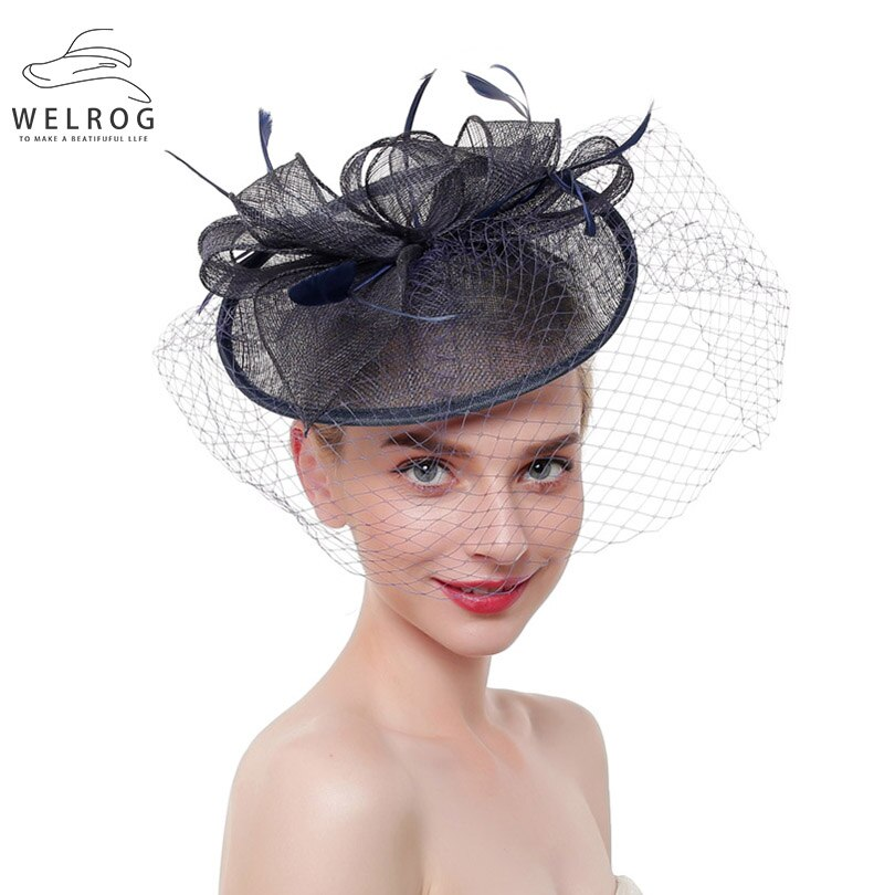 WELROG Solid Rayon Mesh Hairpins Fascinator On Headband For Ladies Women Hair Clips Fascinator Romantic Hat Hair Accessories