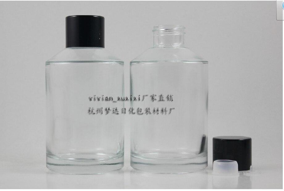 20 adet 200 ml yuvarlak şeffaf losyon şişesi siyah vidalı kapak, 200 ml cam kozmetik ambalaj, şeffaf cam paketi sıvı krem