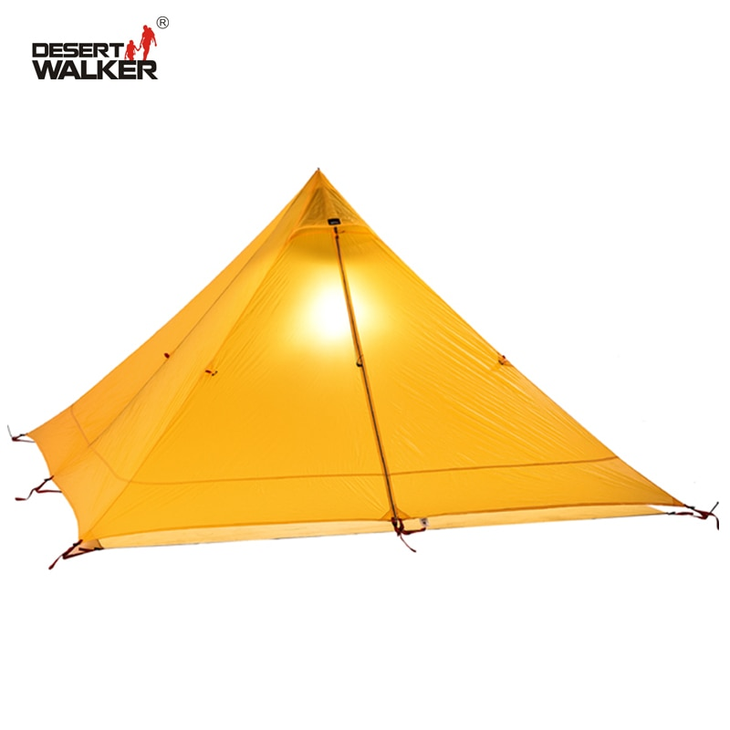 720G de peso ligero tienda 1 persona 4 temporadas 15D Nylon doble-lado revestimiento de silicona impermeable 3000MM tipi tiendas tipi para acampar