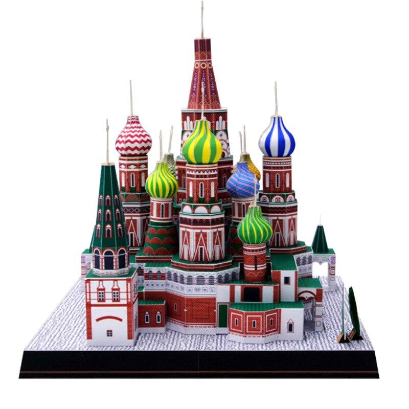 Modelo de Papel 3D Espaço Papercraft Biblioteca Casa De Papelão para Crianças Modelo de Construção de Brinquedos De Papel Rússia Catedral de São basílio