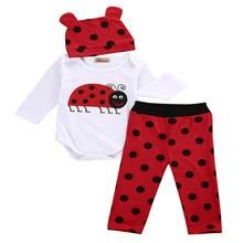3 PCS Autumn Newborn kids long sleeve Ladybugs Gorillas set Baby Boy Girl Rompers Top Striped Leggings Pants Outfits Clothes Set