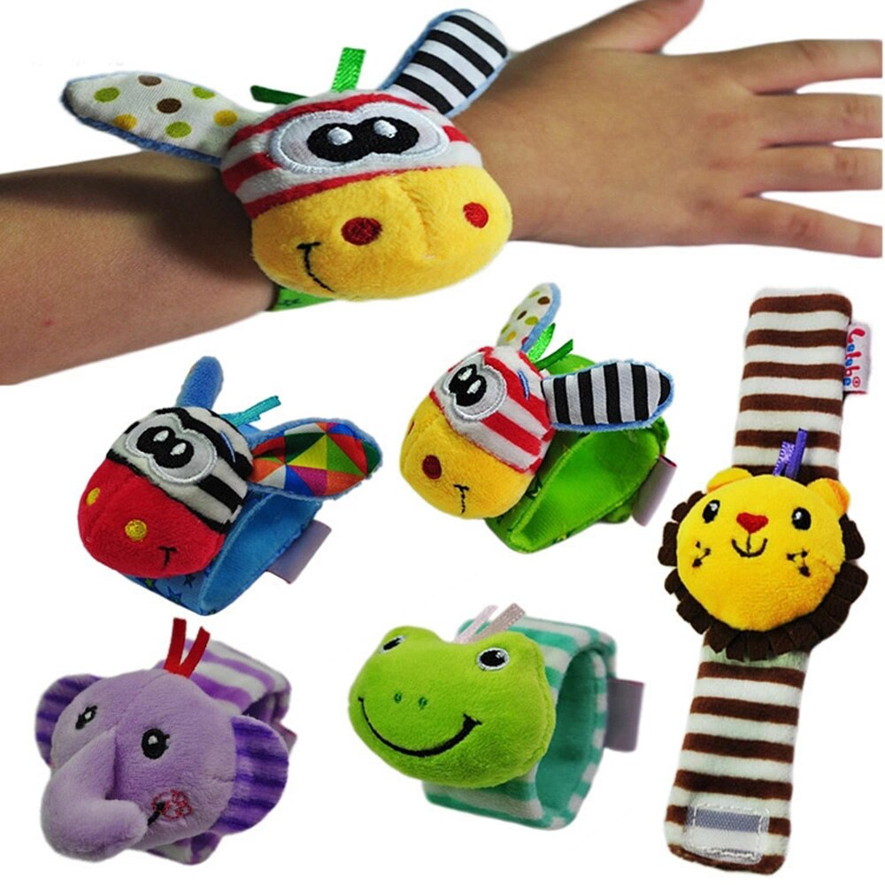 Brinquedo do bebê chocalhos brinquedos meias animais pulseira de pulso com chocalho bebê pé meias cinta de pulso dos desenhos animados educacional melhor presente