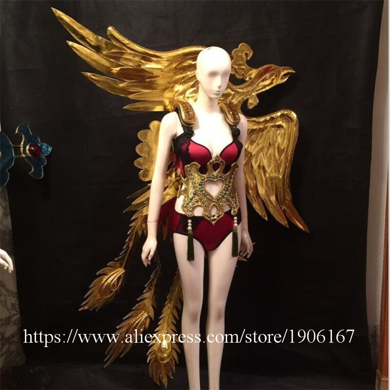 Fashion Secret Model Catwalk Clothing Chinese Dragon Phoenix Model Stage Wears Singer Ballroom Dance Clothes Sexy Lady Dress