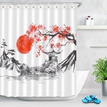 Cortina de ducha de Sakura de Montaña Fuji con pintura al atardecer sumi-e tradicional japonesa LB, tela impermeable de poliéster para bañera