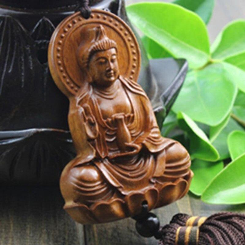 Escultura de madera y cuentas de Buda budismo chino regalos de Halloween Shakyamuni estatua escultura amuleto coche colgante Netsuke AHJ004