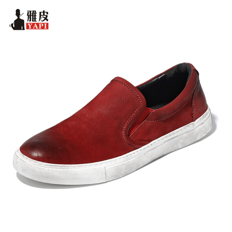 5 Colors  Top Full Grain Leather Mens Casual Shoes Slip On Driving Car Lofers  Lazy Man Boat Shoes