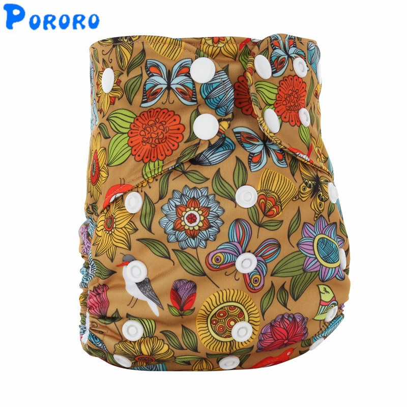 1 PCS Reusable AIO Cloth Diapers Washable All in One  Print Baby Waterproof Nappy With Bamboo Insert