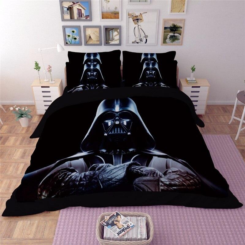 Juego de ropa de cama Popular Star Wars 3 uds. En 3D, juego de edredón negro, funda de almohada individual doble tamaño king Size, ropa de cama de lujo a la moda