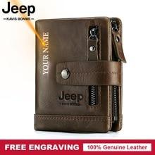 Gravure gratuite 100% en cuir véritable hommes portefeuille porte-monnaie petit porte-cartes portefeuille Portomonee mâle Walet poche café argent