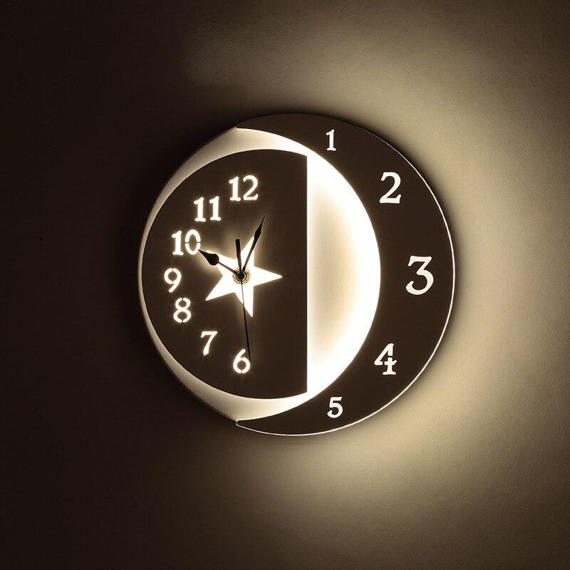 مصباح حائط Led على مدار الساعة ، مصباح حائط عملي على شكل نجوم/قمر ، علوي ، ديكور ، سطح مثبت