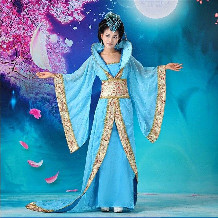 الفاخرة المرأة تأثيري حلي ملابس الرقص الجنية الأميرة تانغ دعوى hanfu الملكة الصينية القديمة الملابس