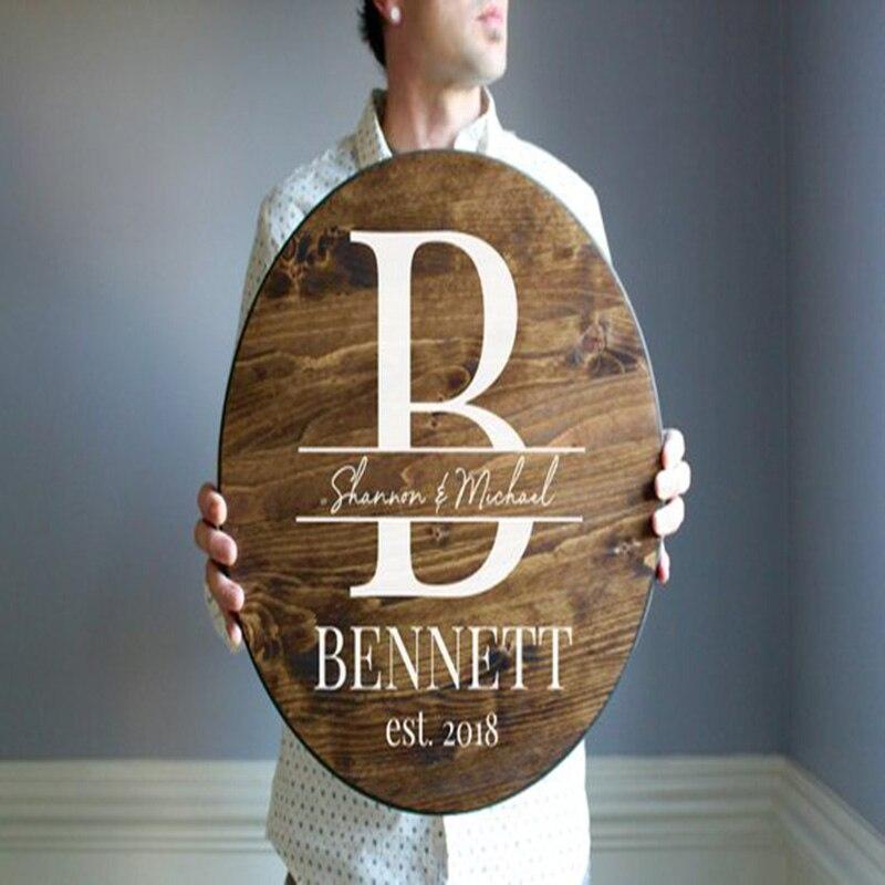 Letrero de boda personalizado, letrero de bienvenida de boda, letrero redondo, signos de dirección para el nombre de la novia y el novio