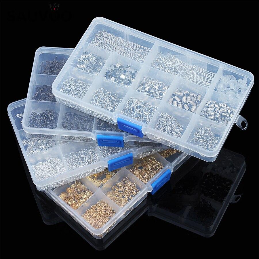 SAUVOO, 1 caja con 12 ranuras para hallazgos en joyería, caja con cierres de langosta, tapas de final, espaciador de cuentas, extensor de pernos de cadena para fabricación de joyas DIY