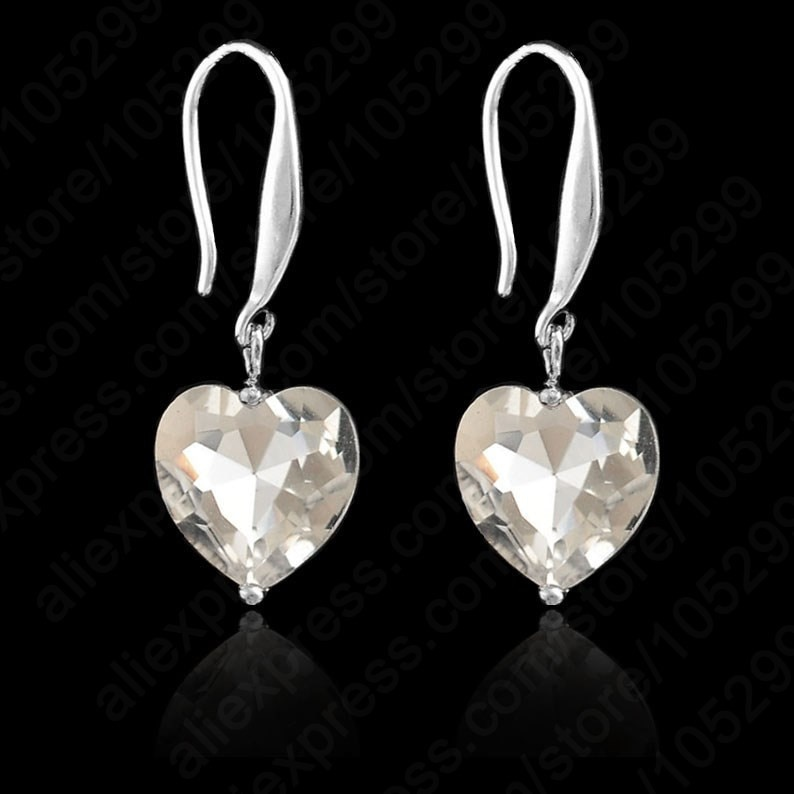 Romantic Young Girls 925 Sterling Silver Cubic Zircon Heart Shape Earrings For Ladies Attending Cocktail Party Dress