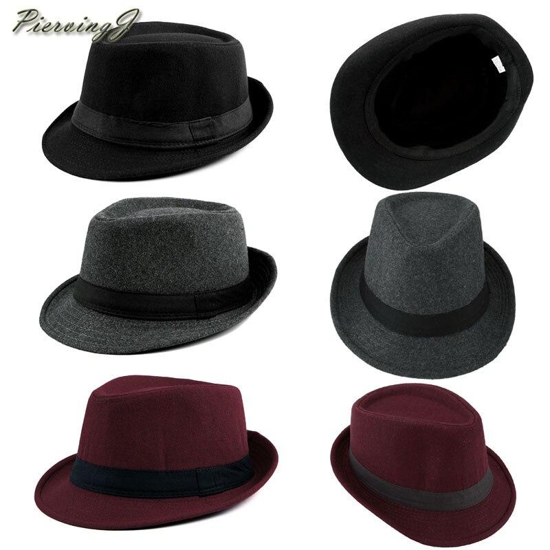PiercingJ Unisex clásico 20s de algodón de Twill de espiga Trilby Fedora sombrero banda Casual Jazz lana gorra