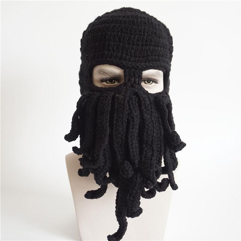 Sombrero divertido de la criatura del mar de las mujeres para hombres sombrero de ganchillo Cthulhu calamar Octopus Beanie sombreros máscara de esquí de punto negro gris amarillo verde militar