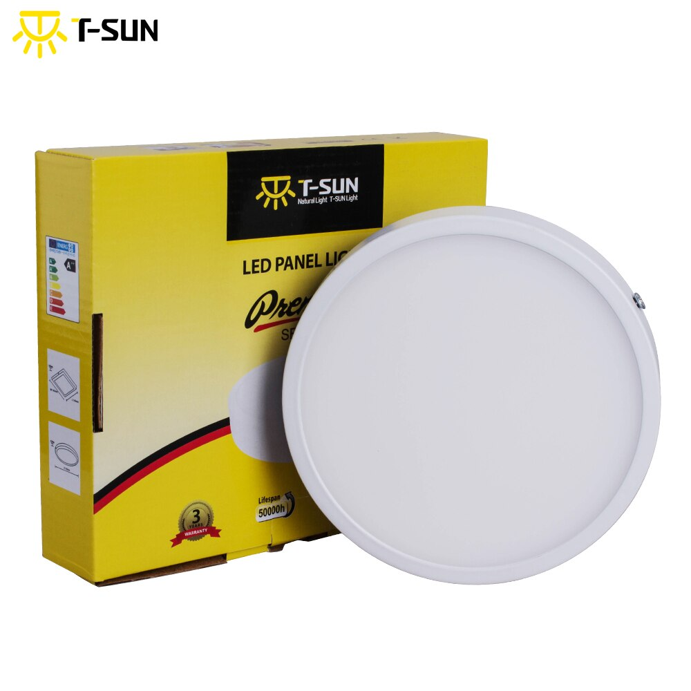 T-SUN, Ultra fino, 8W/16W/24W/32W, luz empotrada montada en la superficie de aluminio, lámpara de techo, AC85-265V