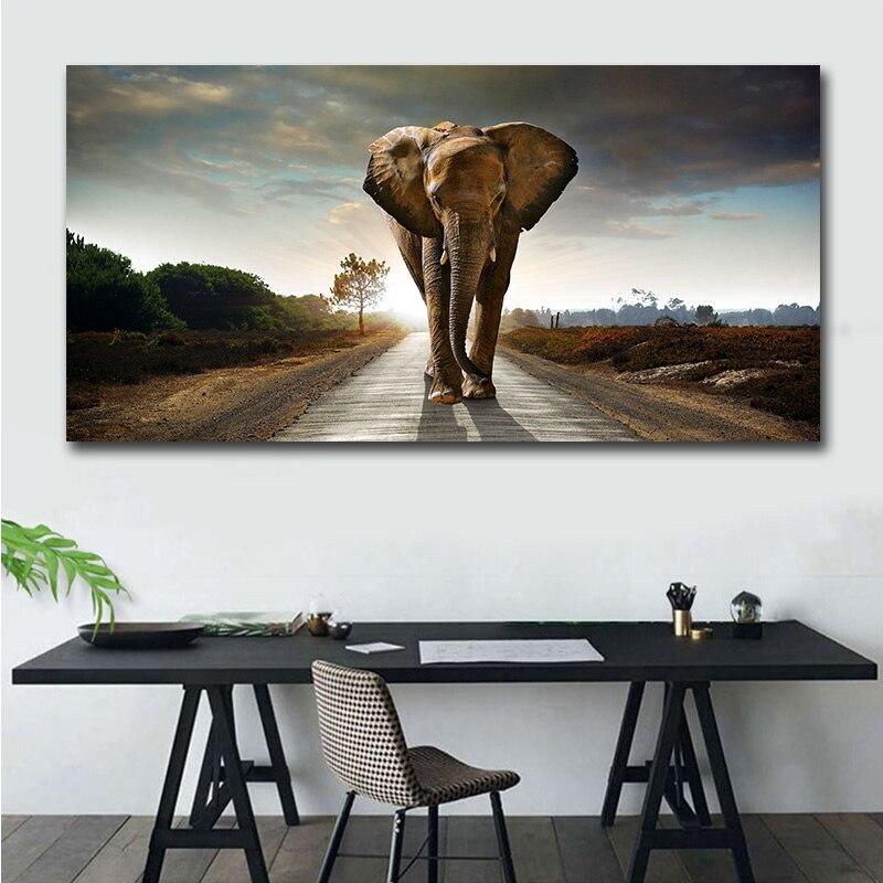 GOODECOR Wall Art plakaty słoń wydruki na płótnie Cute African obrazy olejne zwierząt ogromny rozmiar zdjęcia ścienny do salonu