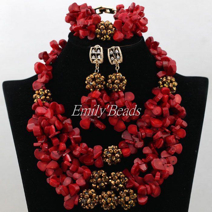 Free Shipping!Bridal Jewelry Sets Woman Wedding African Beads Jewelry Set Red Coral Beads Jewelry Set Fashion Necklace Set CJ526