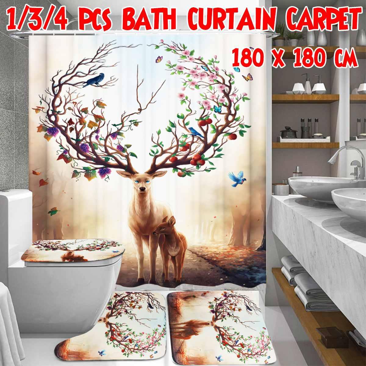 1/3/4 Uds ciervo sica Cortina de ducha juego de alfombra para baño, cubierta de baño, juego de alfombrilla, accesorios de baño, cortinas con ganchos