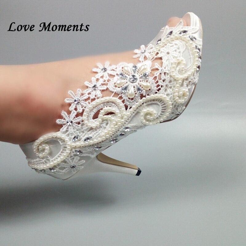 Zapatos de boda de flores blancas con cuentas de amor zapatos de plataforma de tacón alto con punta de pez para mujer dedo del pie