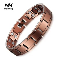 welmag vintage copper magnetic bracelet for men women 2 row magnet bio energy healing bangles fashion jewelry male wristband
