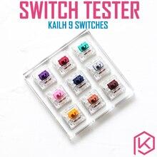 9 commutateurs de commutateur testeur avec base acrylique clés vierges pour clavier mécanique kailh heavy pro violet or cuivre bleu marine rose