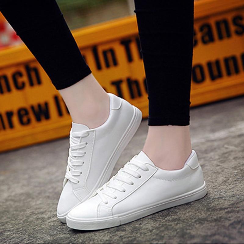 Zapatos de lona para mujer 2019, nuevos zapatos para mujer, zapatillas blancas y negras, zapatos informales para mujer, Tenis femenino, zapatos de cuero con cordones para mujer