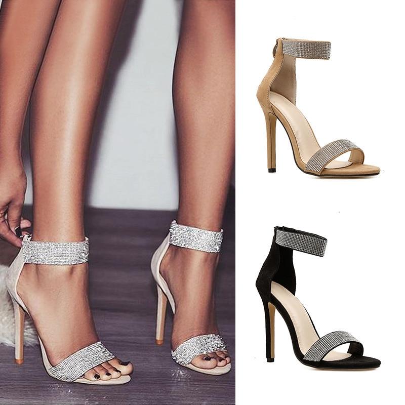 Rhinestone Women's Sandals Fashion Thin Heels Women Shoes High Heels Sandals Summer Classic Sandals Zipper Ladies Shoes Stiletto