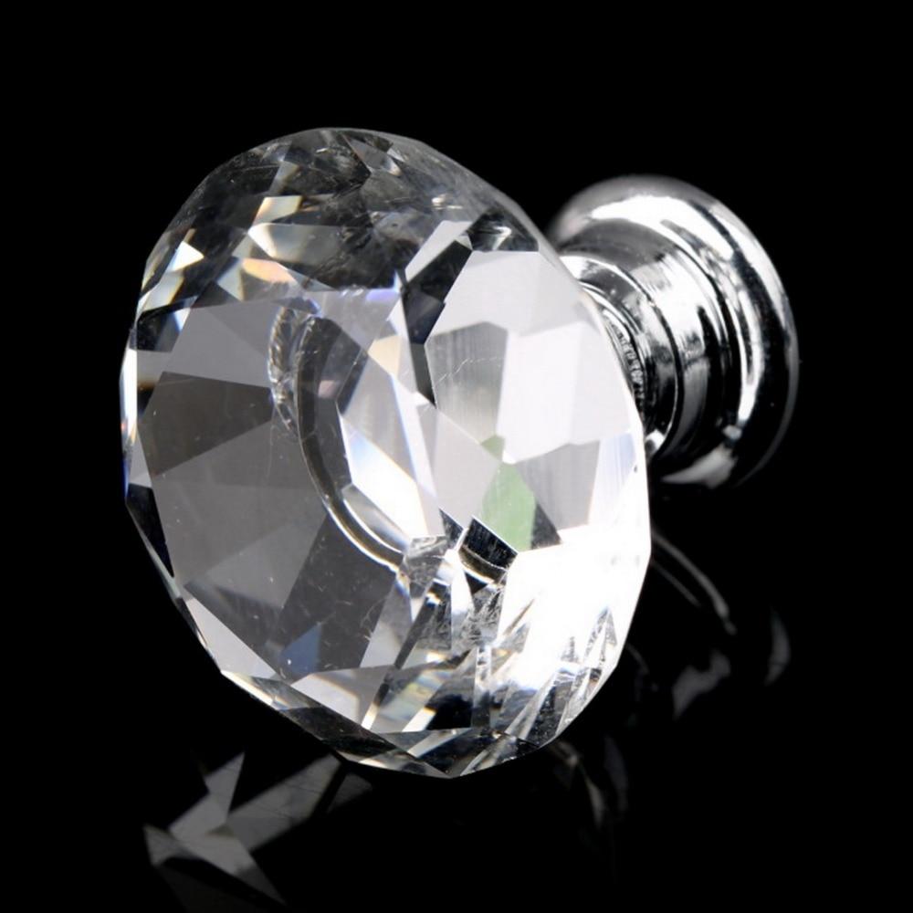 10 Pcs 30mm Diamond Shape Crystal Glass Door Handle Knob for furniture Drawer Cabinet Kitchen Pull Handles Knobs Handle Wardrobe