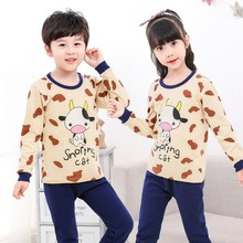 Kids Autumn Girls Pyjamas Cartoon Cow Pijama Infantil T-shirt + Pants 2pcs Sleepwear Childrens Pajamas Baby Girl Clothing Sets