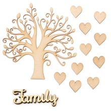 Kit darbre familial en bois MDF bricolage   kit darbre familial avec cœur damour en bois, formes vierges en bois