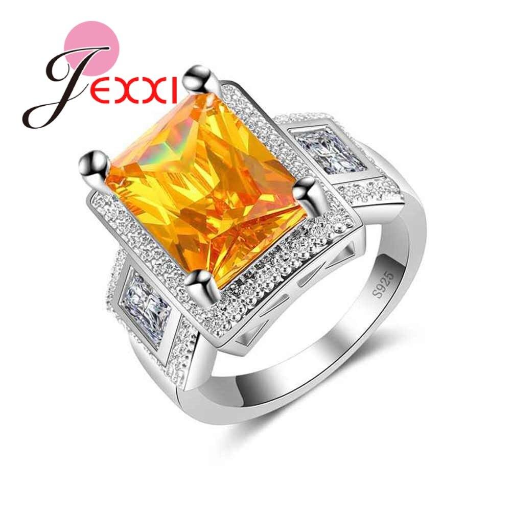925 סטרלינג כסף מתנה עבור גברים Wome צהוב מעוקב Zirconia אצבע טבעת גודל 6-10 חתונה אירוסין מפלגה אבזרים