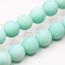 4mm 6mm 8 m 10mm 12mm 14mm bleu naturel Amazonite Matting calcédoine perles en vrac pierre ronde bijoux à bricoler soi-même faisant des cadeaux pour femmes