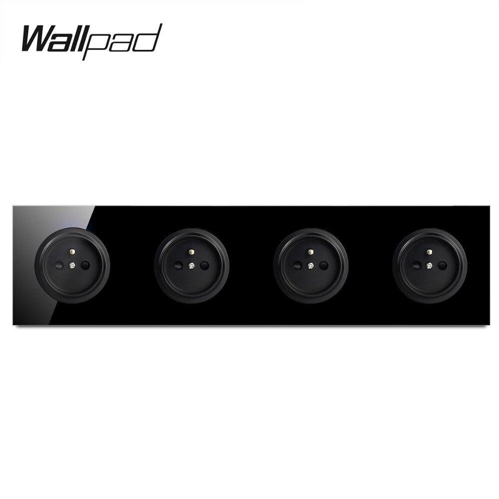 Wallpad-مقبس حائط فرنسي ، إطار رباعي ، زجاج مقوى أسود L6 ، 4 عصابات ، منفذ طاقة كهربائي ، 16 أمبير ، تصميم دائري