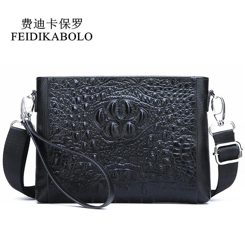 FEIDIKABOLO-حقيبة ساعي جلد التمساح للرجال ، حقيبة كتف من الجلد الطبيعي ، حقيبة يد سوداء