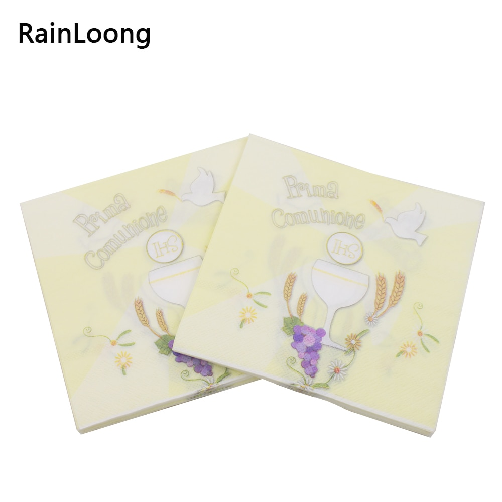 [RainLoong] Printed Flower Paper Napkins Prima Comunione For Party Decoration Tissue Decoupage 33*33cm 5packs (20pcs/pack)