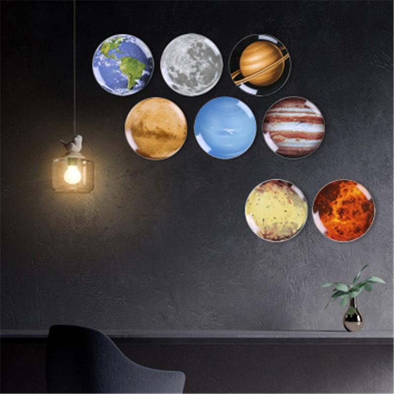 Universo criativo decoração 3d celestial corpo cerâmica pendurado prato moderno quarto fundo da parede placa decorativa x2087