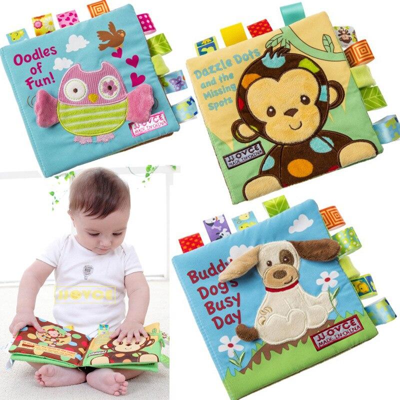 JJOVCE bebé libro paño bebé tela libros Inglés Educación Infantil Rustling juguetes de aprendizaje animales zoológico para la hora de dormir