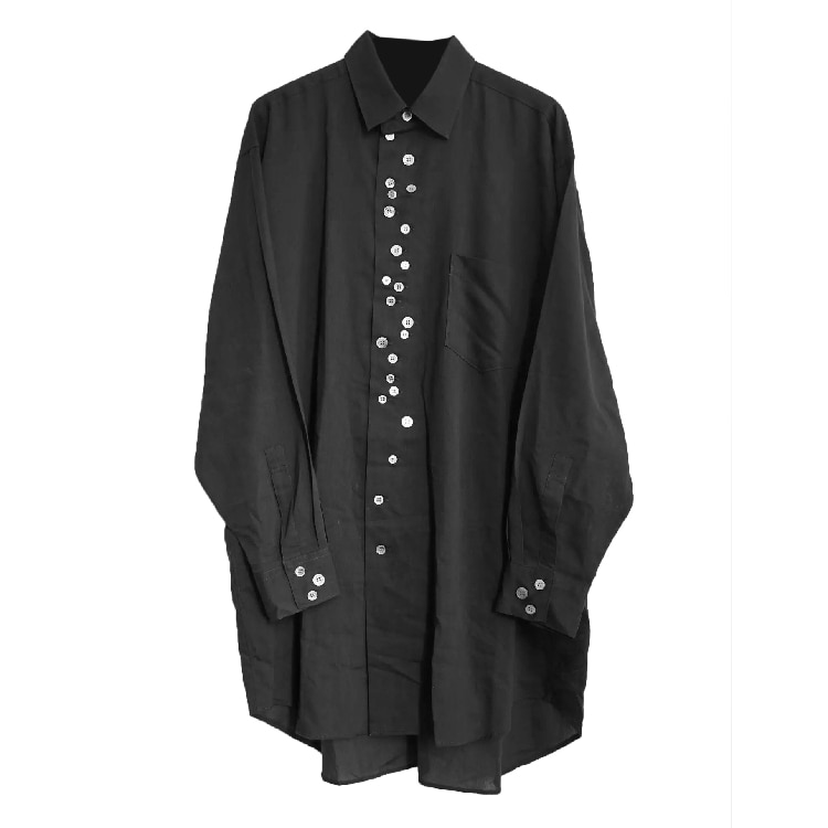 S-6XL! Large men's shirts   2019 Original design shell button men's shirt irregular multi buttonhole fashion men's wear