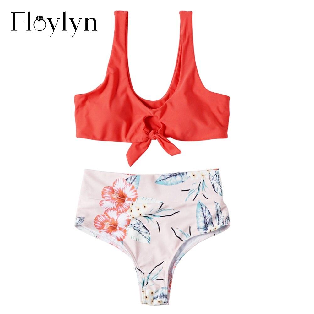 Floylyn Chic mujeres Sexy Bikini traje de baño 2019 mujeres anudado Tanga con relleno Bikini de alta cintura Scoop traje de baño ropa de playa