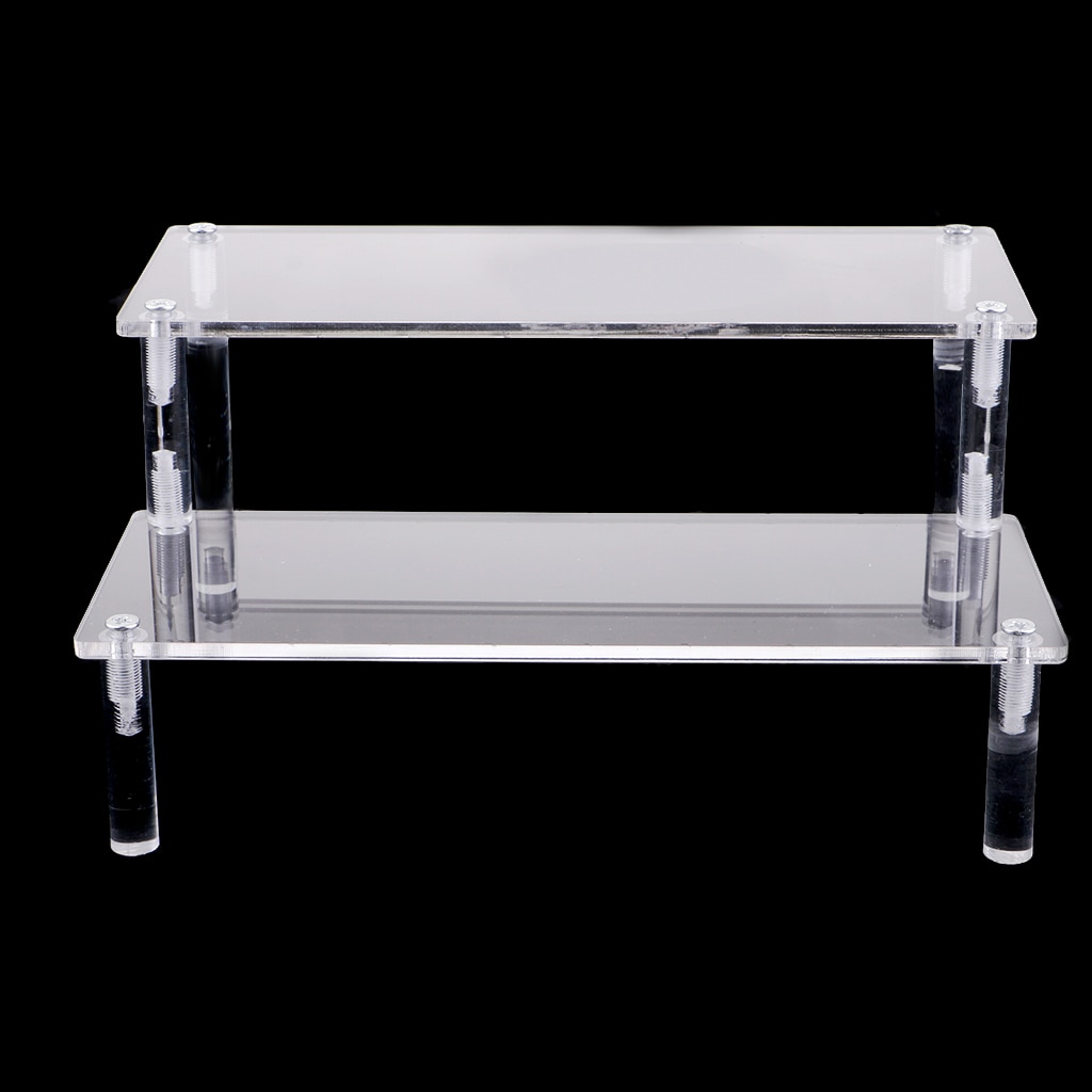 Acrylic Riser Display Rack Shelf Removable Showcase - 2-Layer Detachable Storage Stand for Cosmetics
