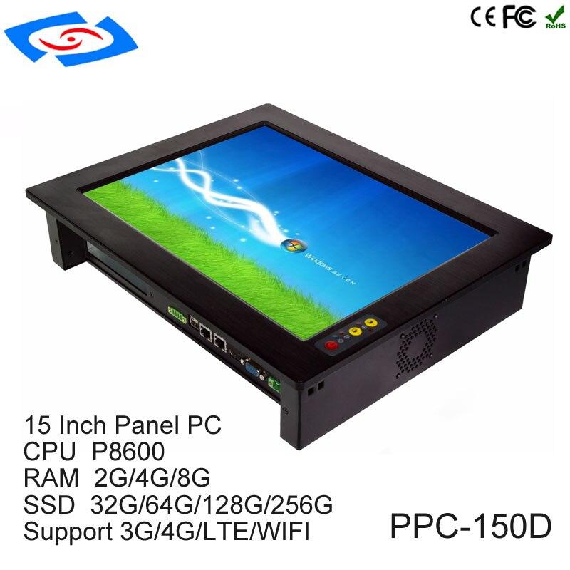 Tienda de fábrica, precio bajo, pantalla táctil de 15 pulgadas, Panel PC Industrial sin ventilador con RAM 2G SSD 32G, soporte inalámbrico 3G 4G LTE Wifi Tablet