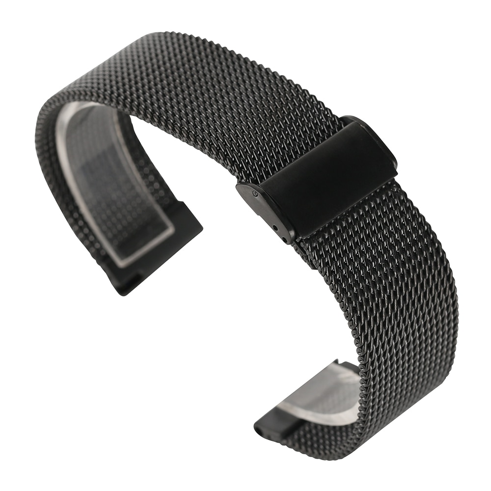 Correa de reloj de acero inoxidable de malla de 18/20/22mm, correa negra/plateada/rosa dorada, hebilla de gancho para hombres, pulsera de repuesto para Huawei