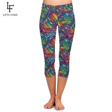LETSFIND Summer Style 3D Colorful Feathers Design Digital Printing Capri Leggings High Waist Women M