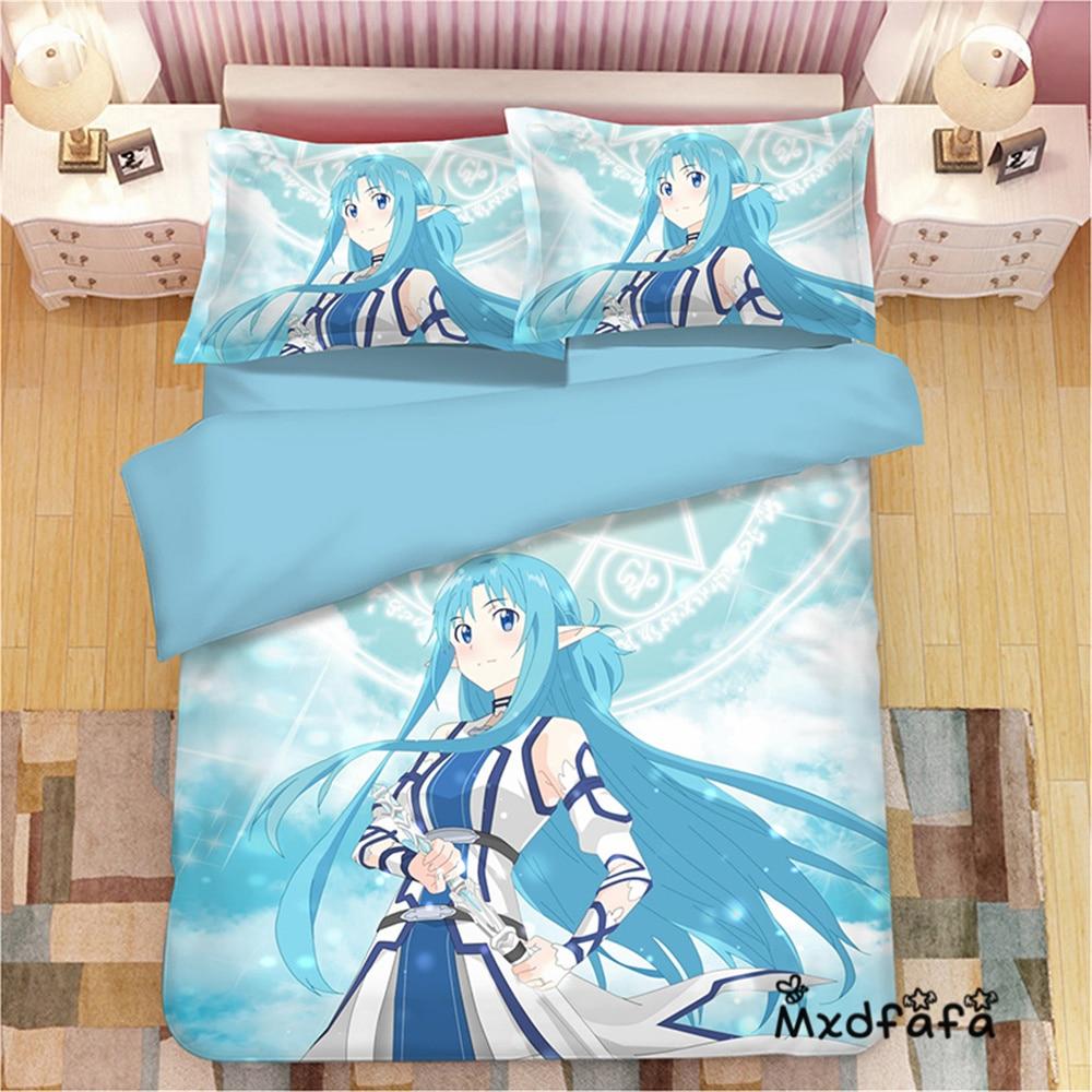 Mxdfafa Anime Bettbezug-set SAO Schwert Art Online Yuuki Asuna Luxus Tröster Bett Sets Beinhalten 1 Duvet Abdeckung und 2 kissenbezug